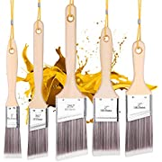 5Pk Paint Brushes with 5 Portable Ropes,squish Paint Brush Set for Wall,Paint Brushes Set, Treated Wood Handle, Professional Brush Set, Trim Paint Brush, Paintbrush