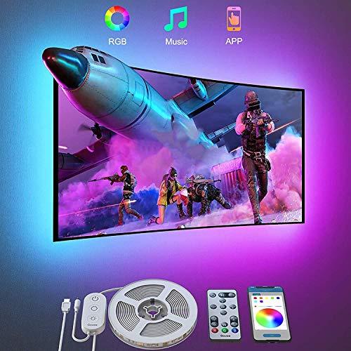 Govee Retroilluminazione 3m TV, Striscia LED RGB USB con App Control e con Tasti Telecomando IR per PC TV da 46-60 Pollici modalità Musica e palcoscenico