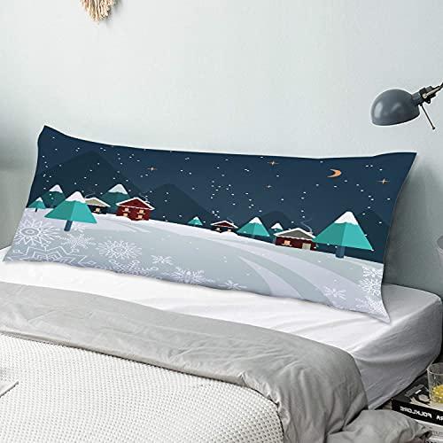 Funda de Almohada para el Cuerpo,Pequeñas Ciudades en la Nieve en Las Noches d,Funda de Almohada Larga y Transpirable con Cremallera para sofá de Dormitorio,sofá de 20'x54'