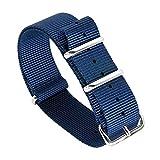 20 mm Hommes Exquis Bleu foncé monoblocs Bracelets en perlon Nylon Style NATO...