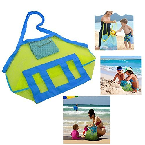 Cisixin Bolsa Plegable de los Niños Bolsa de Almacenamiento de Juguete Bolsa de Playa (Verde + Azul)