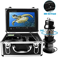 Underwater Ice Fishing Camera 360° Rotating View Waterproof Video Camera and 38 Infrared LEDs 9 inch 1000HD TVL with DVR Fish Finder for Ice,Lake and Boat Fishing (20M)