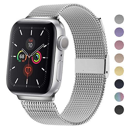 M MOUKOU Correas de Repuesto compatibles con Apple Watch de 42 mm, 44 mm, Correa de Repuesto Ajustable de Malla de Acero Inoxidable para iWatch Series SE/6/5/4/3/2/1