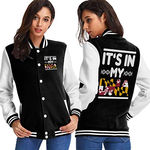 BYYKK Mujer Chaquetas Ropa Deportiva Abrigos, Maryland Flag It's in My DNA Women's Long Sleeve Baseball Jacket Baseball Jacket Uniform