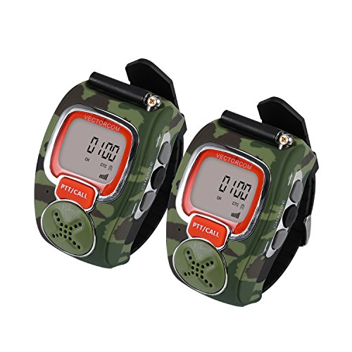 VECTORCOM RD007 Portable Digital Wrist Watch Walkie Talkie Two-Way Radio Outdoor Sport Hiking, Camouflage.462MHZ.1pair, Green