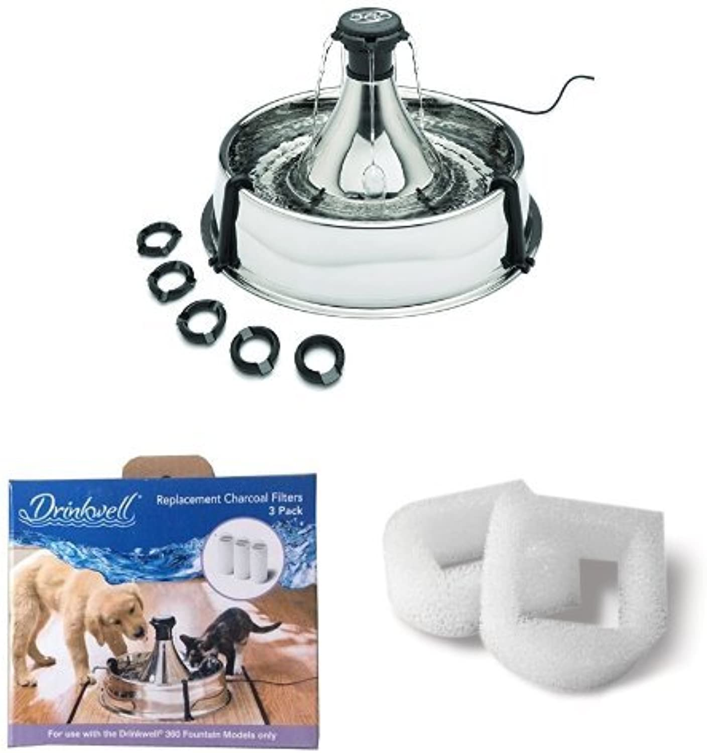PetSafe 360 Fountain Pet Drinking Well, Stainless + Radio Systems PAC1914356 Drinkwell by PetSafe360 FTN Repl Filters 3 Pack + Drinkwell PAC0013711 Foam Filter 360 Bundle