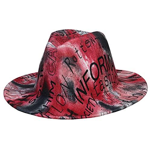 Jixin4you Sombrero Panamá para hombre y mujer, de ala ancha, de fieltro, cálido jazz, gorra de invierno, 56-58 ajustable, P: Alfabeto rojo, Talla única