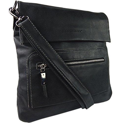 ekavale Schultertasche aus weichem Leder-Imitat Damen Umhängetasche Flache Form zusätzlich Schlüsseltasche (Schwarz)