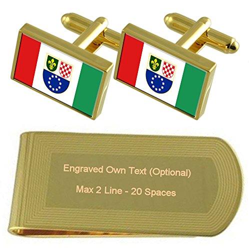 Select Gifts Federazione croato-bosniaca bandiera Gold-tone gemelli denaro inciso Clip Set regalo