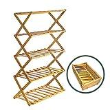 Rayuda - Scarpiera a 5 ripiani, in legno, pieghevole, 89 x 49 x 25 cm, robusta e salvaspaz...