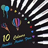 Pennarelli Metallici, set di 10 colori assortiti Penna per vernice per libro degli ospiti Carta per matrimonio in vetro Album fotografico Scrapbook Plastica Legno Ceramica(Punta fine)