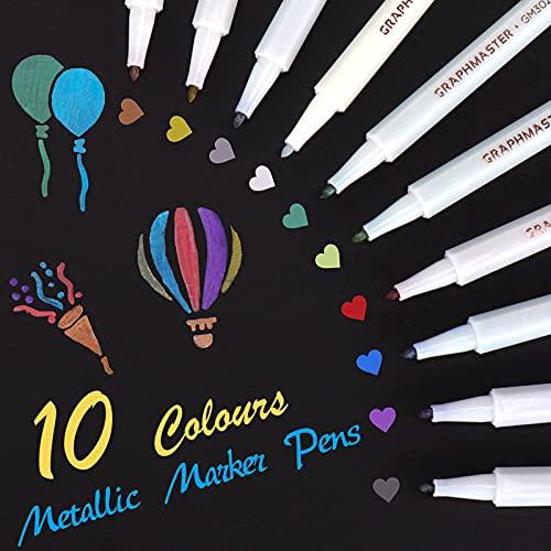 Marqueur Metallique Stylo Ensemble de 10 Couleurs Assorties pour Livre d'or Mariage Carte en Verre Faisant Album Photo Scrapbook en Plastique Bois céramique (Pointe fine)