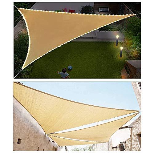 HOXMOMA Sonnensegel Dreieck, Sonnenschutz mit LED-Leuchten Wasserdicht UV-Schutz Sun Segel, Sun Shelter Windschutz Wetterschutz für Garten BalkonTerrasse und Camping,Beige,2x2x2m