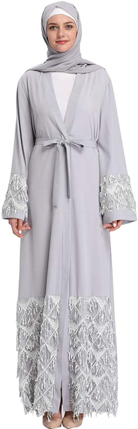 NewCime Dubai Robes National Belief Fashion Sequins Long Casual Dress Cardigan for Women Relaxed Dress