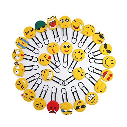 CHSYOO 4 Pezzi Emoji Graffetta Segnalibri, Regali per Bambini Festa compleanno Favore Natale (Emoji è a caso)