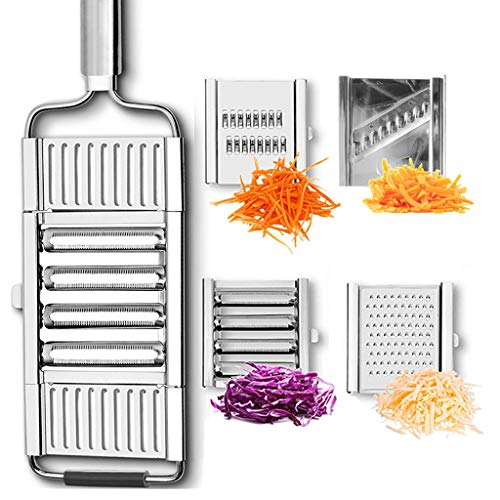 Multifunctional 4 in 1 Vegetable Slicer Cheese Grater Potato Grater Peeler Adjustable Kitchen Tool fit for Salad Fries Chips and All Vegetable