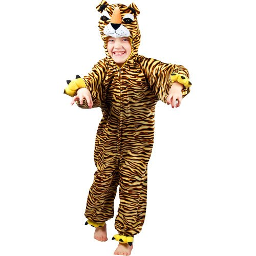 (S) Boys Girls Kids Tiger Costume for Animals Bugs Creatures Fancy Dress Small Age 3-4