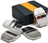 ZPDM 4Pcs Couvercle De Serrure De Porte en Acier Inoxydable, pour Mercedes Benz A/C/Cla/Gla/G/M/S/SL-Class Amg, Voiture Rouille Striker Boucle Bouchon Protection Couverture Accesso