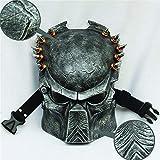 MH Halloween Horror Maske, Predator Maske Lone Wolf Predator Creepy Mask - Kostüm - Latex, Unisex,Silber