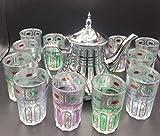 ML Confezione da 12 bicchieri di vetro per tè marocchino multicolore e una teiera in acciaio inox da 1,6 l, con filtro integrato