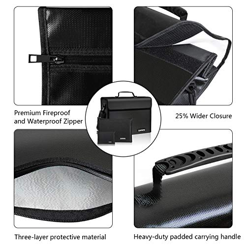 Fireproof Bags - XL Fireproof Document Bags,(17 x 12 x5 inch) Three Layers Fire Safe Bag and Waterproof Storage,Non-Itchy Silicone Coated Safe Box for Documents,Money and Valuables