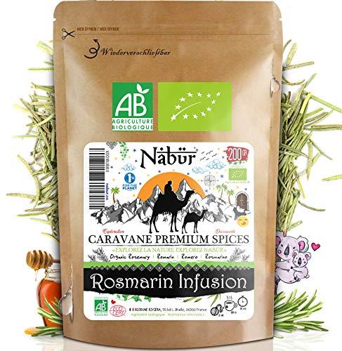 Nabür - Bio-Rosmarin Tee 200g | Kräutertee Rosmarin Tee Aufguss | Organic rosemary tea infusion