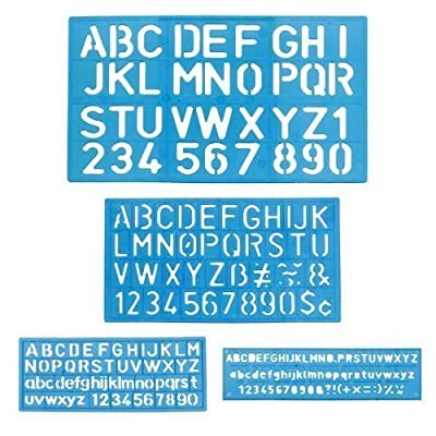 1 x Letter and Number Stencil Sets - Sizes 8, 10, 20, 30mm - Assorted Colors (New Version)