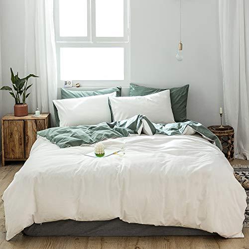 GETIYA Ropa de cama para adultos, 200 x 200 cm, 3 piezas, color blanco, monocolor, 100% algodón, reversible, color blanco y verde oscuro, calidad de hotel, con cremallera, funda nórdica doble