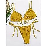 maozuzyy Bikinis Bañador Mujer Sexy Bikini Nuevo Traje De Baño Sólido Mujer Traje De Baño Bikinis SetBiquinis Feminino Bikini Mujer Traje De Baño Mujer Summer-Yellow_L