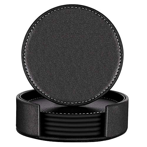 Coasters for Drinks, Thipoten Leather Coasters with Holder, Protect Furniture from Damage(6PCS, Black)