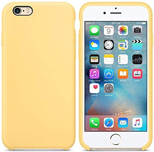 JLFDHR Funda de Silicona Oficial Original para Apple iPhone 7 8 6 6s Plus 5 5s SE Funda para iPhone 6 7 X XS MAX XR Funda de teléfono sin Logo-para iPhone 5 5s SE-Amarillo