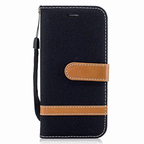 Yiizy Apple iPhone 6s Plus/iPhone 6 Plus Cover Custodia, Modello del Cowboy Silicone Custodia Cover Portafoglio PU Pelle Cuoio Copertura Schede Cavalletto Stile Libro Protettivo Borsa (Nero)