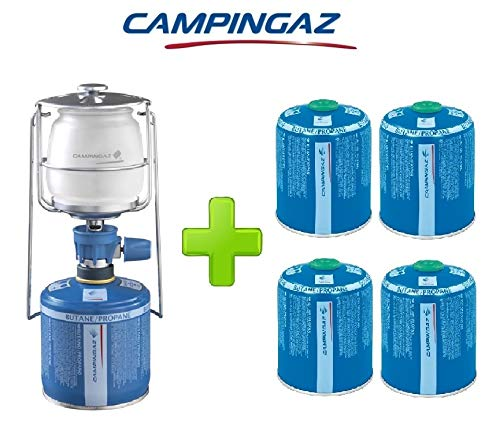 ALTIGASI Hohe Laterne Gaslampe LUMOGAZ Plus CAMPINGAZ 80 Watt + 4 Stück CV-Kartusche 470 g