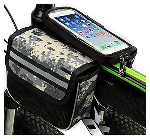 LJWLZFVT Bicycle Frame BagWaterproof Cell Phone Case Cycle Mount with Touch Screen WindowBicycle Top Tube PouchBike Frame Bag with Mobile Phone Holder Camouflage 57 inches 17x13x15cm