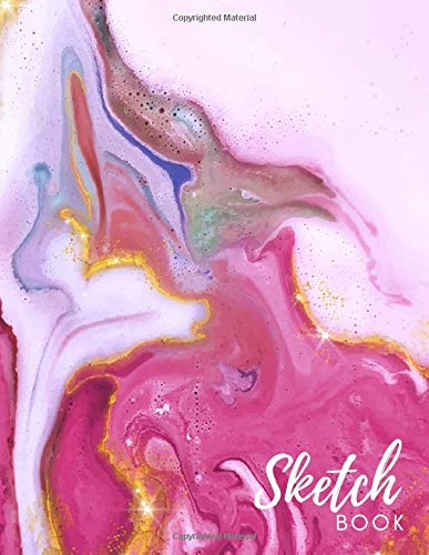 Sketch Book: Large Pink Liquid Marble Notebook for Graphic Designers - Plan Out Logo Design Concepts or Posters, Printable, Branding, Invitations, ... & Creative People - 8.5 x 11 - 110 pages