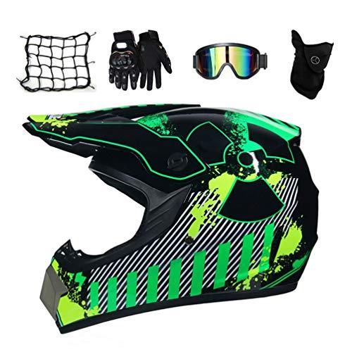 MRDEAR Motocross Helm Kinder, Crosshelm mit Brille (5 Stück) - Strahlung/DOT-Zertifizierung - Fullface MTB Helm Mopedhelm Motorradhelm Set...