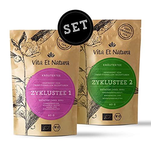"""Vita Et Natura® Zyklustee 1 und 2 \""""Probier Set\"""" - Bewährte Kräutermischungen nach traditionellen Rezepturen - 100{da665950291228ab7a1b633ca1f2f454e9d6fb0e7f486045c1f6274492f449aa} BIO - 120g loser Tee (2 x 60g)"""