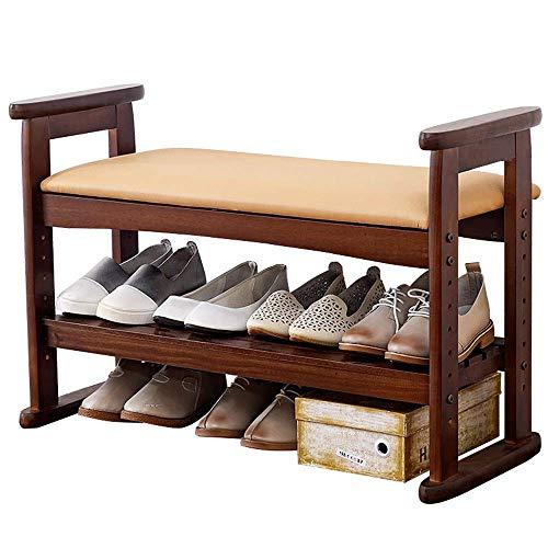 HYY-YY Zapatero de madera con asa ajustable, banco de almacenamiento para pasillo con cojín de asiento, ahorra espacio, fácil de montar (color: marrón, tamaño: 51 x 33 x 77 cm)