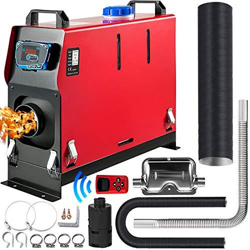 VEVOR Calentador de Aire Diesel 8 KW Calefacción Estacionaria 12 V Diesel Portátil Calentador de Estacionamiento Diesel Calefacción Estática Furgoneta Diesel Calentador con Mando a Distancia (Rojo)