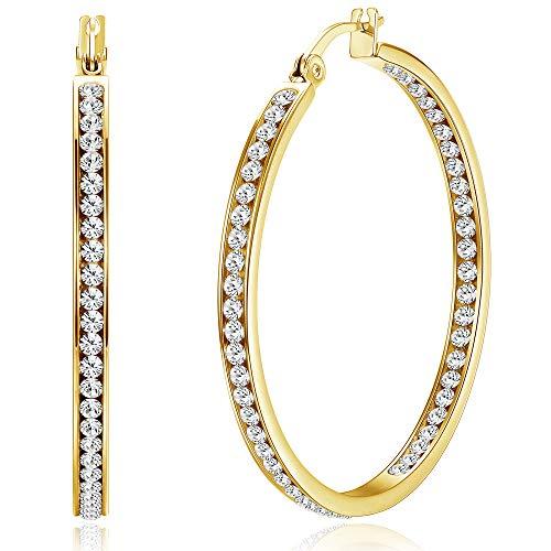 ORAZIO Stainless Steel Women Hoop Earrings Cute Huggie Earrings Cubic Zirconia Inlaid 50MM (C: Gold-tone)