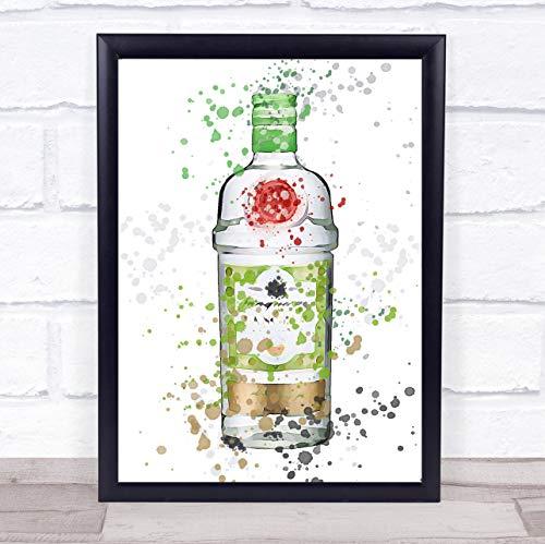 Aquarel Splatter Rangpur Lime Gin Fles Muur kunst ingelijst Print Framed Black Large