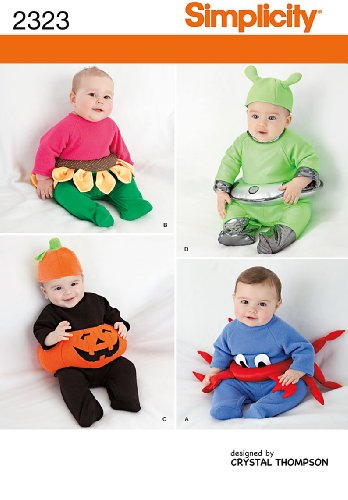 simplicity sewing patterns babies costumes a xs s m l - Baby Halloween Costume Patterns