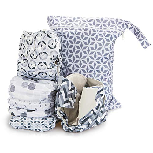 Simple Being Reusable Cloth Diapers- Double Gusset-6 Pack Pocket Adjustable Size-Waterproof Cover-6 Inserts-Wet Bag (Retro)