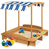 Best Choice Products Wooden Cabana Sandbox w/ Bench Seats, UV-Resistant Canopy, Sandpit Cover, Side Buckets - Natural