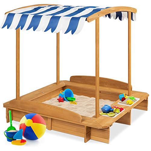 Best Choice Products Kids Wooden Cabana Sandbox Play Station for Children, Outdoor, Backyard w/ 2 Bench Seats, UV-Resistant Canopy Shade, Fabric Sandpit Cover, 2 Side Buckets - Natural