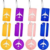 12 Pieces Aluminum Metal Travel Luggage Tags Travel ID Labels Bag Tags Colorful Suitcase Baggage Card Holder with Ring for Women Men