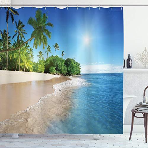 ABAKUHAUS Duschvorhang, Zwei Tropische Palmen Einem Sonnigen Insel Eine Strand Szene im Panoramablick Bild Foto Druck, Blickdicht aus Stoff inkl. 12 Ringen Umweltfreundlich Waschbar, 175 X 200 cm