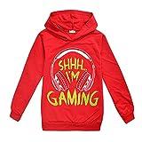 Can't Hear You I'm Gaming Boy Sudadera con capucha negra para niños, cómodo jersey, rosso, 3-4 Años