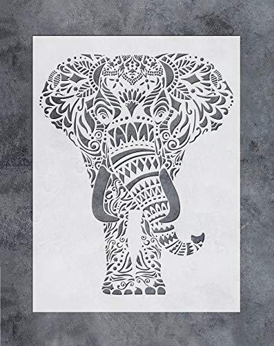 GSS Designs SL-059 - Plantilla de pared con diseño de mandala y elefante, diseño floral vibrante para decoración de pared del hogar