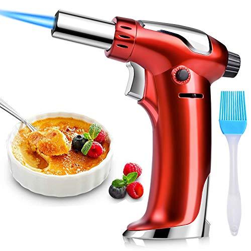 DYD Küchenbrenne Flambierbrenner, Nachfüllbar Butan Gasbrenner mit Sicherheitsschloss für die Küche Home Creme Brulee Gebäck Desserts Camping (Butan Inbegriffen Nicht) (Rot)